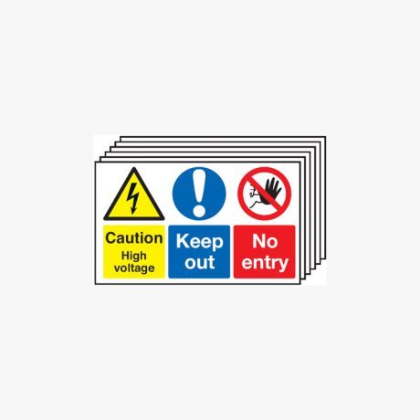Caution High Voltage Keep Out Multipack 6 Self Adhesive Plastic 300x500mm Signs