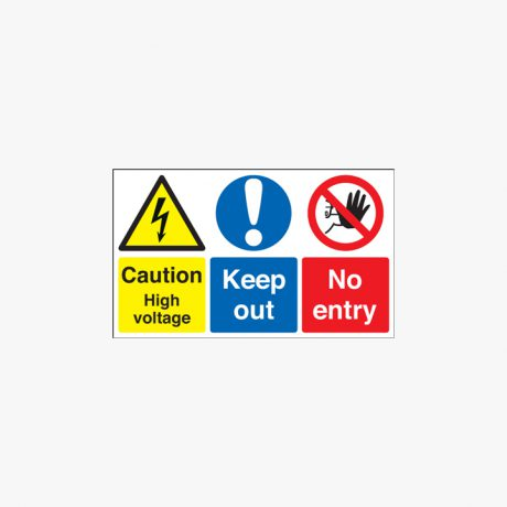 Caution High Voltage Keep Out Self Adhesive Plastic 300x500mm Signs