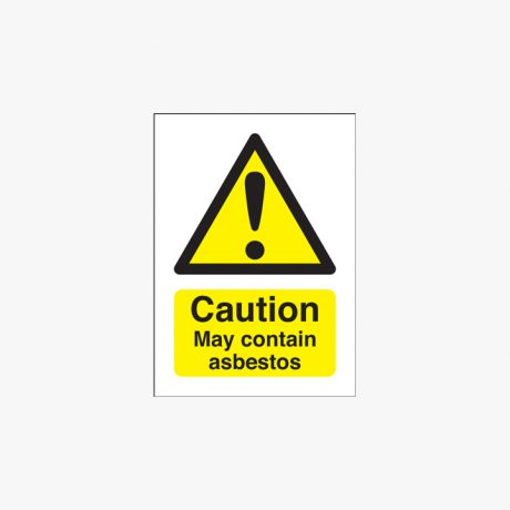 70x50mm Caution May Contain Asbestos Self Adhesive Plastic Signs