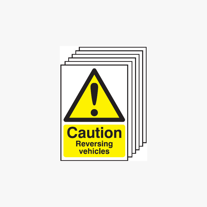 Caution Reversing Vehicles Multipack 6 Self Adhesive Plastic A4 Signs