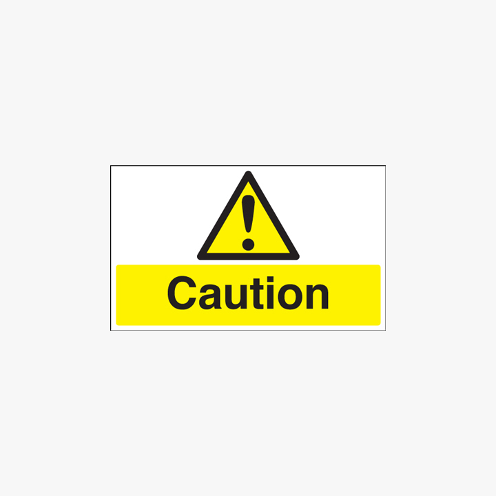 Caution Plastic Signs 250mm x 100mm