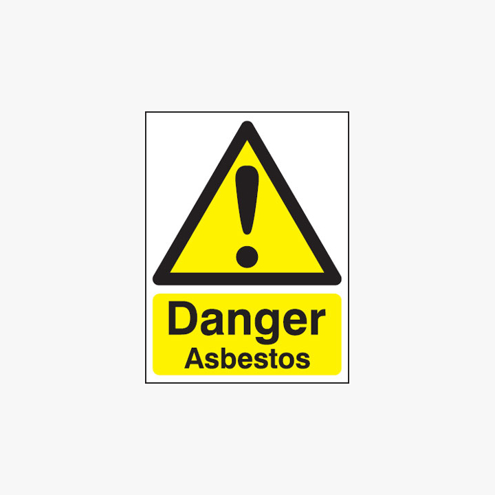 Danger Asbestos Plastic Signs 75 mm x 100 mm