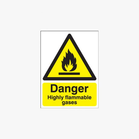 Danger Highly Flammable Gases Self Adhesive Plastic 400x300mm Signs
