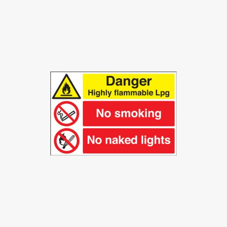 Danger Highly Flammable Lpg No Smoking Naked Lights Self Adhesive Plastic 400x600mm Signs