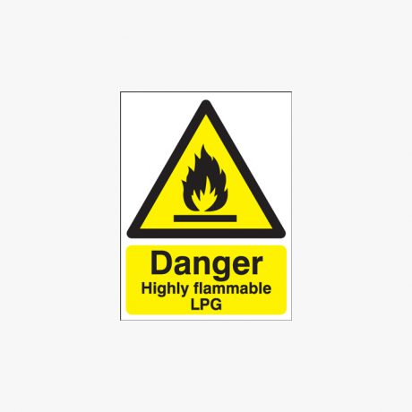 Danger Highly Flammable Lpg Self Adhesive Plastic 400x300mm Signs
