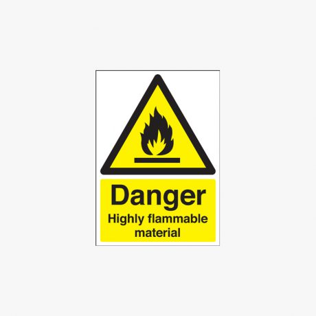 Danger Highly Flammable Material Self Adhesive Plastic A1 Signs