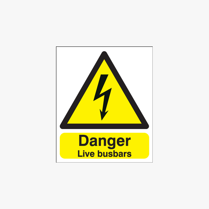 300x250mm Danger Live Busbars Self Adhesive Plastic Signs