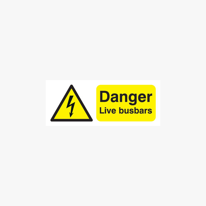 Danger Live Busbars Plastic Signs 250 mm x 100 mm