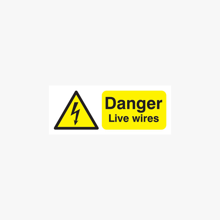 Danger Live Wires Plastic Signs 250 mm x 100 mm