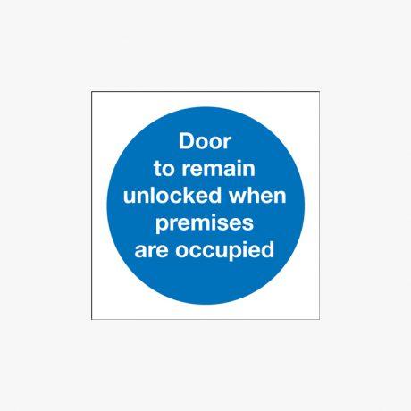Door To Remain Unlocked Self Adhesive Plastic 100x100mm Signs