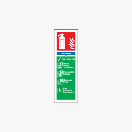 Dry Powder Extinguisher For Use Self Adhesive Plastic 280x90mm Signs