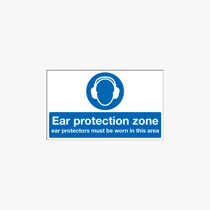 Ear Protection Zone Self Adhesive Plastic 600x450mm Signs