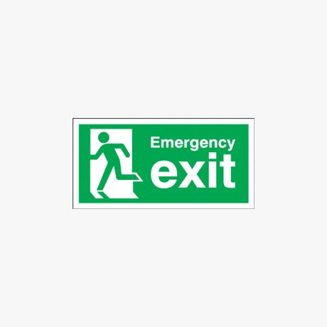 Emergency Exit Running Man Left Self Adhesive Plastic 300x150mm Signs
