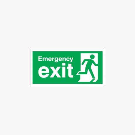 Emergency Exit Running Man Right Self Adhesive Plastic 450x150mm Signs