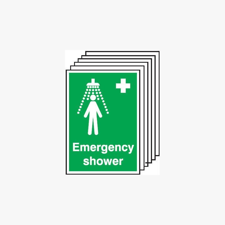 Emergency Shower Multipack 6 Plastic A3 Signs