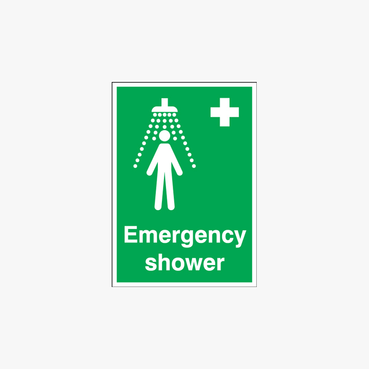 Self Adhesive Plastic A1 Emergency Shower Signs