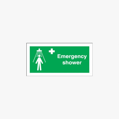 Emergency Shower Signs Self Adhesive Plastic 100x250mm