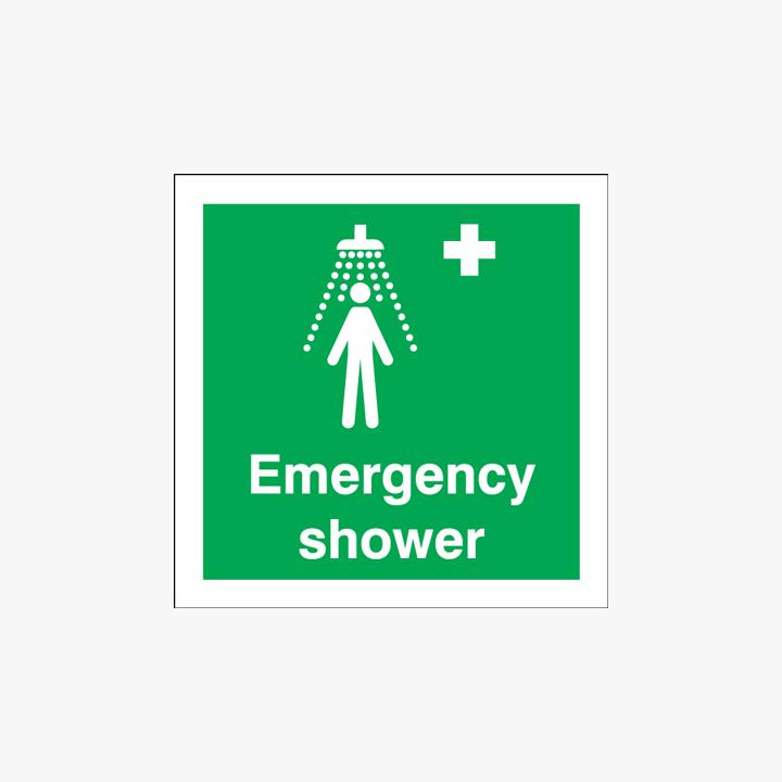 Emergency Shower Signs Self Adhesive Plastic 150x150mm