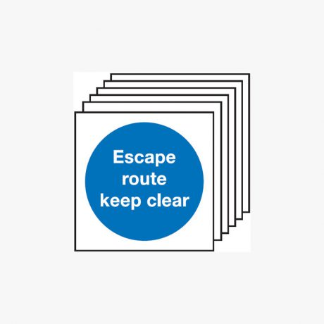 Escape Route Keep Clear Multipack 6 Plastic 150x150mm Signs