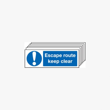 Escape Route Keep Clear Multipack 6 Plastic 450x150mm Signs