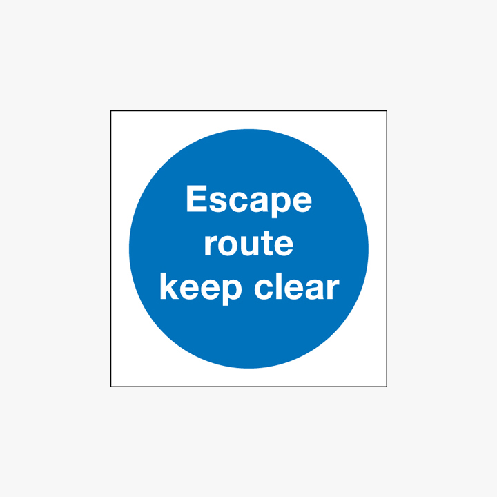 Escape Route Keep Clear Self Adhesive Plastic 150x150mm Signs