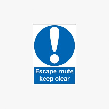 Escape Route Keep Clear Self Adhesive Plastic A1 Signs