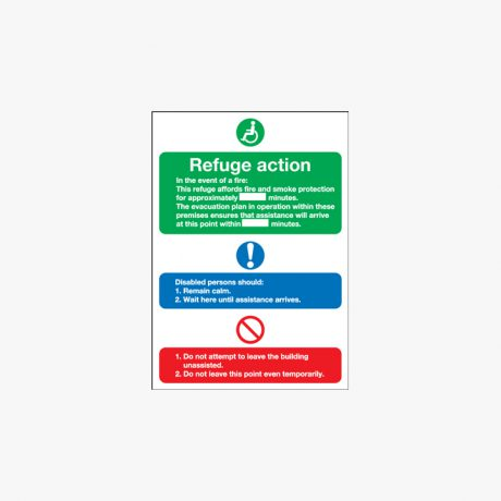 Evacuation For Disabled People Self Adhesive Plastic Signs 250 mm x 300 mm