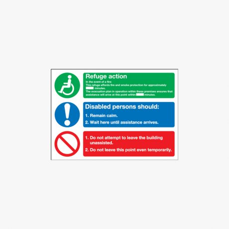 Evacuation For Disabled People Self Adhesive Plastic Signs 350 mm x 250 mm