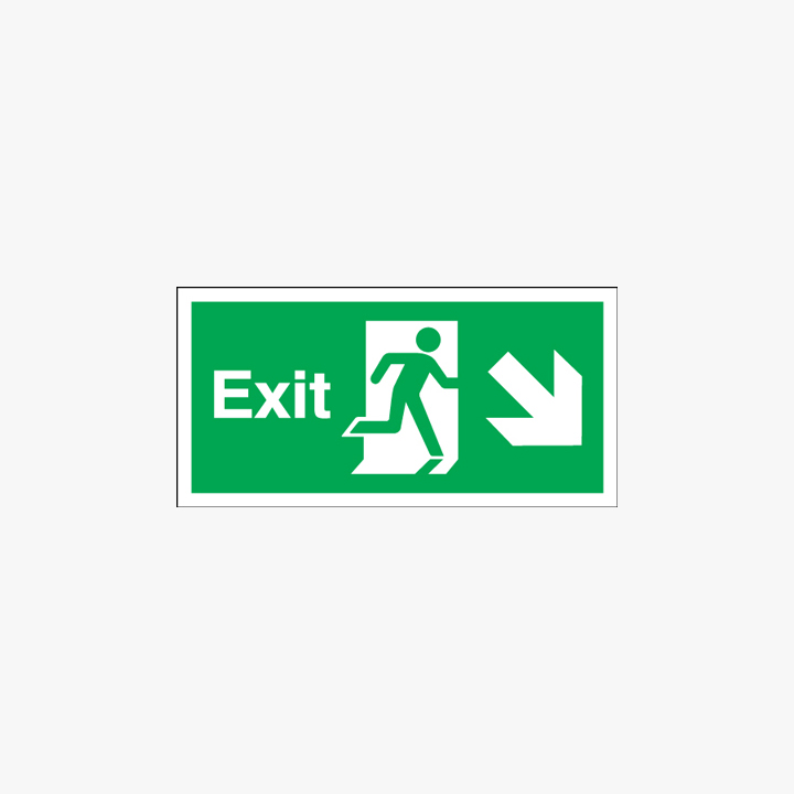 Exit Arrow Diagonal Right Down Self Adhesive Plastic 450mmx 150mm Signs