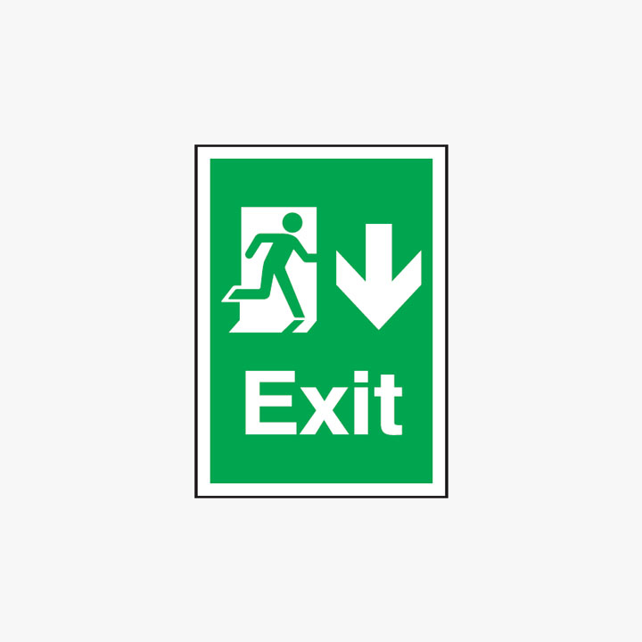A3 Exit Arrow Down Self Adhesive Plastic A3 Signs