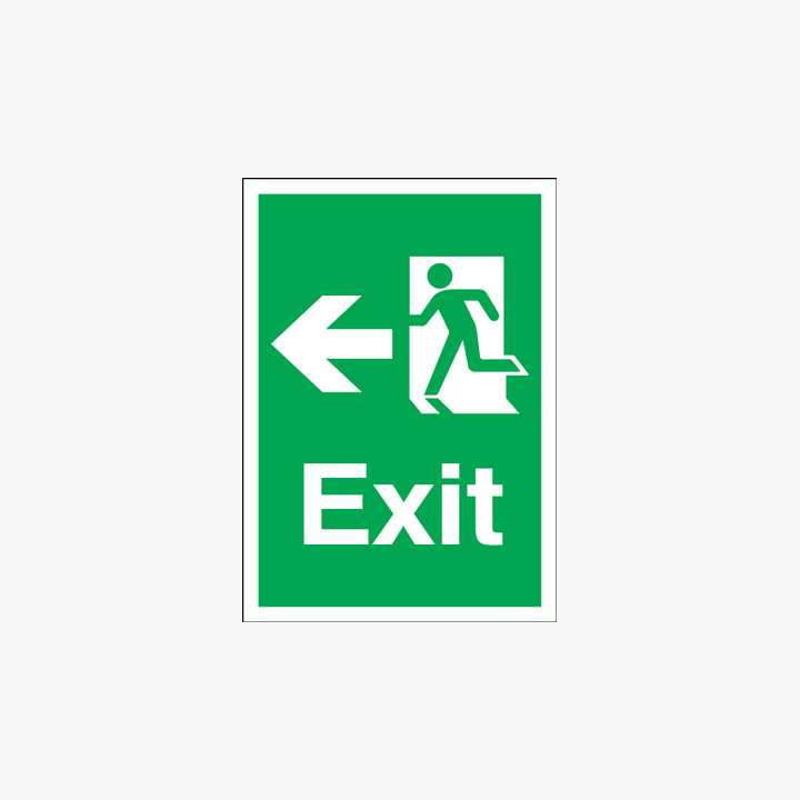 Exit Arrow Left Self Adhesive Plastic A3 Signs