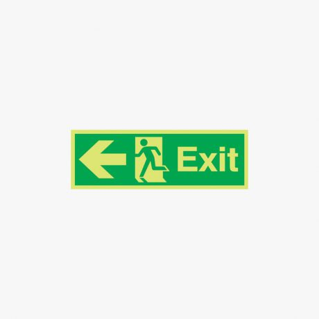 Exit Arrow Left Signs Night Glow Self Adhesive 450x150mm