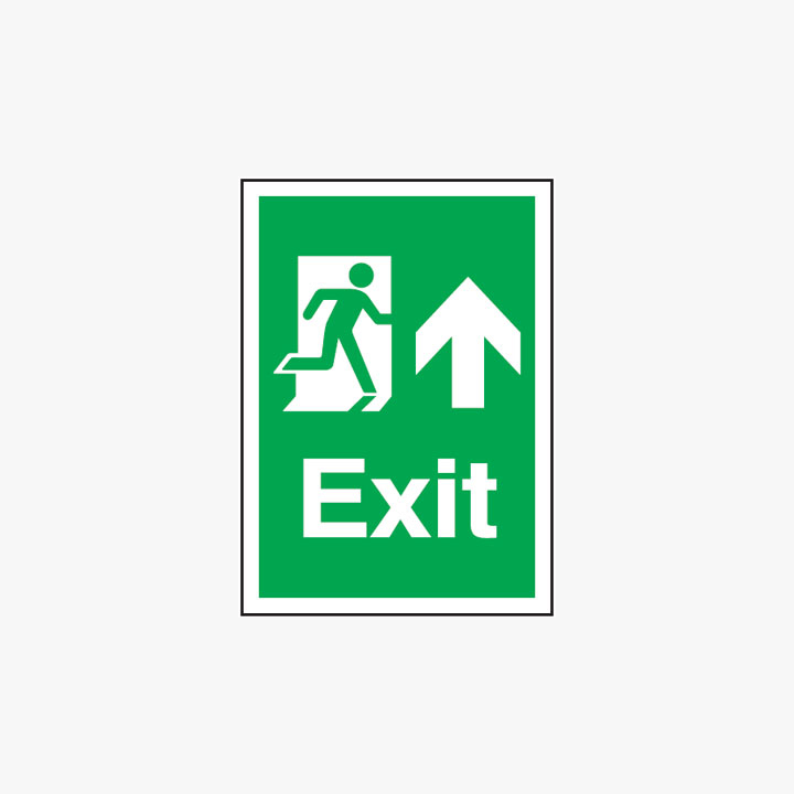 Exit Arrow Up Self Adhesive Plastic A3 Signs