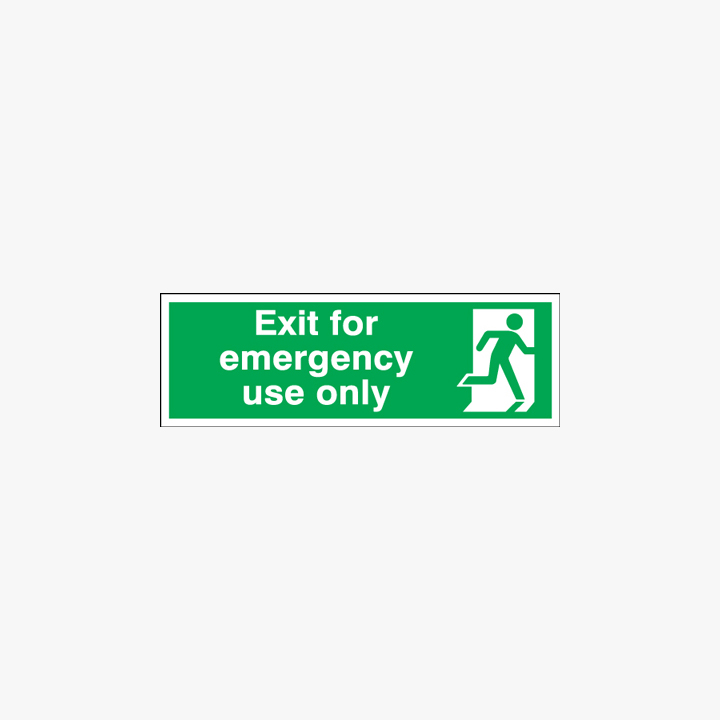Exit For Emergency Use Only Plastic Signs 250 mm x 100 mm