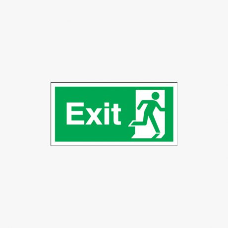 Exit Running Man Right Self Adhesive Plastic 450x150mm Signs