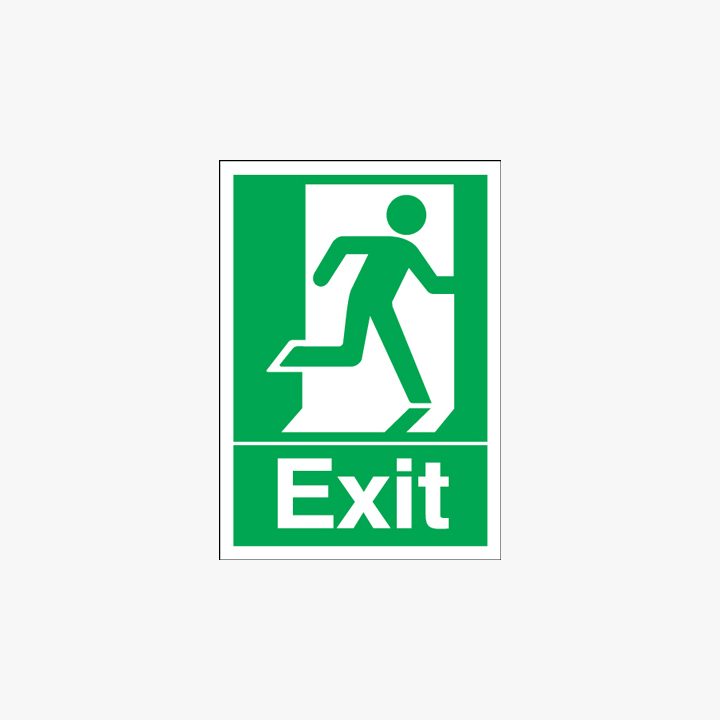A1 Exit Running Man Right Self Adhesive Plastic Signs
