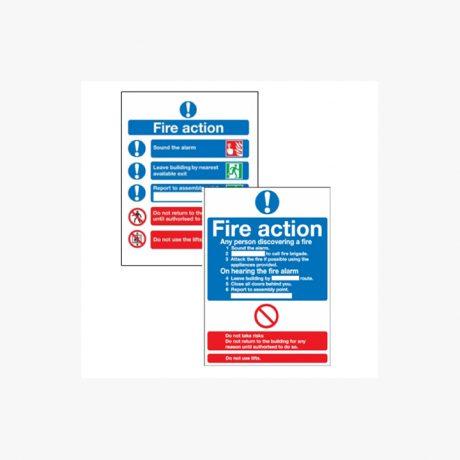 Fire Action Signs Rigid Plastic