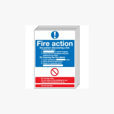 Fire Action (Standard) Multipack 6 Self Adhesive Plastic A4 Signs