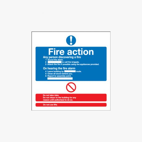 Fire Action (Standard) Self Adhesive Plastic 200x200mm Signs