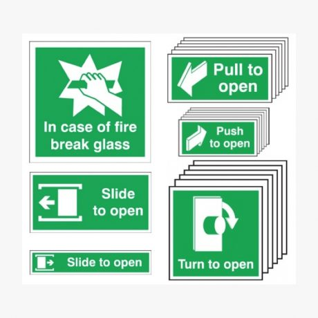 Fire Break Glass, Pull, Push, Slide, Turn to Open Signs