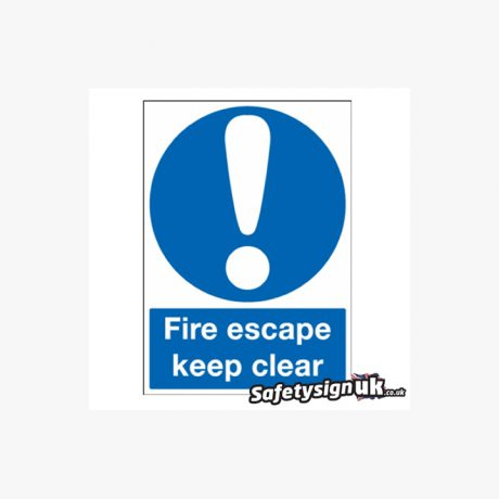 Fire Escape Keep Clear Signage