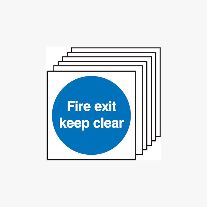 Fire Exit Keep Clear Multipack 6 Plastic Signs 150 mm x 150 mm