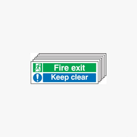 Fire Exit Keep Clear Self Adhesive Plastic Signs 600 mm x 300 mm