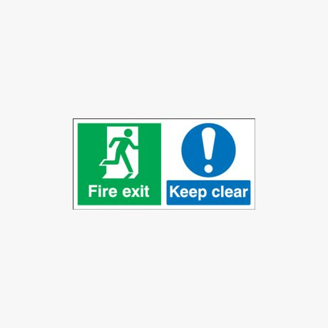 Fire Exit Keep Clear Night Glow Signs 450 mm x 150 mm