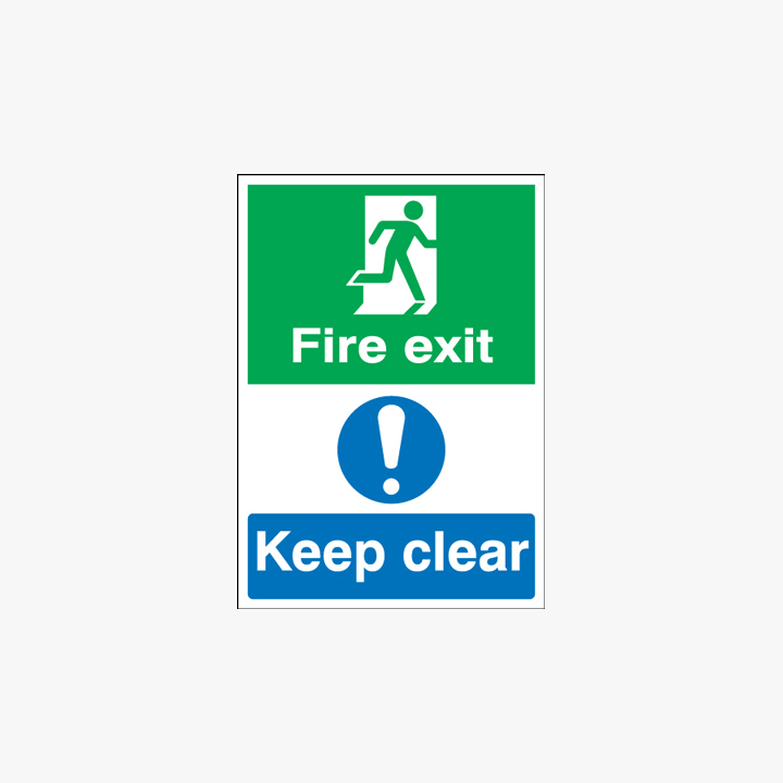 Fire Exit Keep Clear Self Adhesive Plastic Signs A1