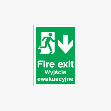 A3 Fire Exit (Polish) Running Man Down Plastic Signs