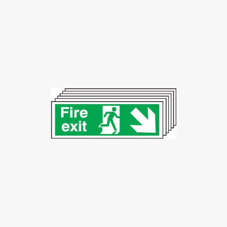 Fire Exit Run Man Arrow Down Right Multipack 6 Self Adhesive Plastic 600x300mm Signs