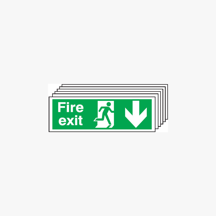 Fire Exit Running Man Arrow Down Multipack 6 Self Adhesive Plastic 600mmx300mm Signs