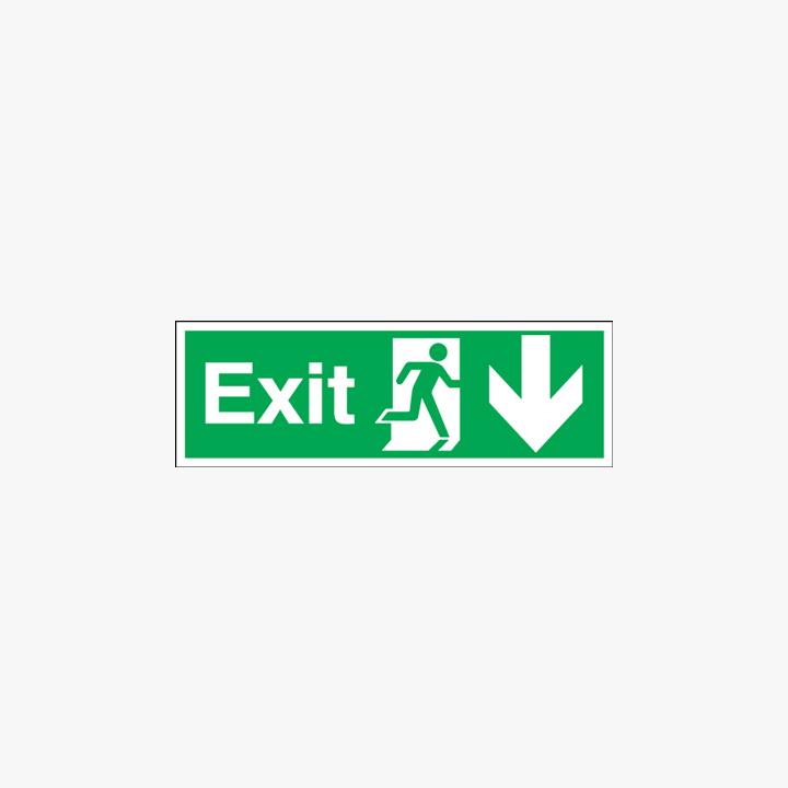 Exit Running Man Arrow Down Self Adhesive Plastic 450x150mm Signs