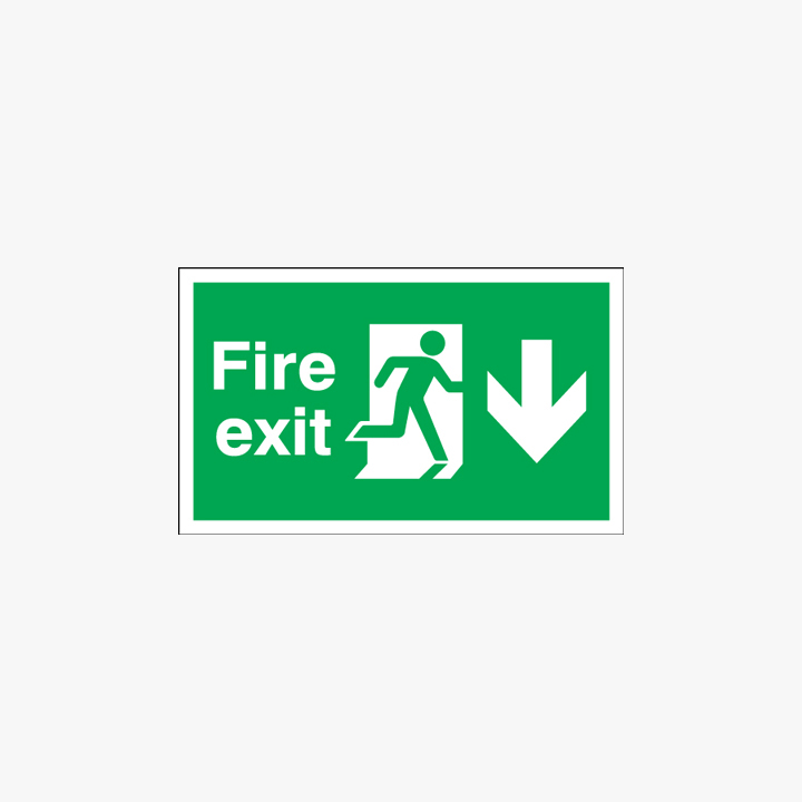 Fire Exit Running Man Arrow Down Self Adhesive Plastic 900x300mm Signs